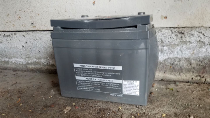 car battery bloated