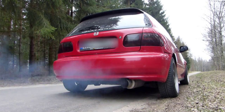 blue or gray smoke from exhaust