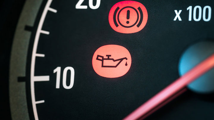 low oil pressure warning light on