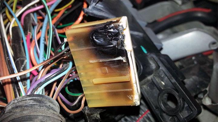 burnt car wiring