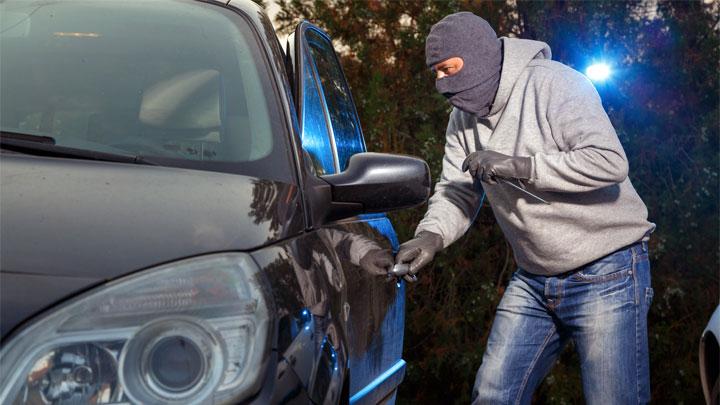 car thief setting off alarm