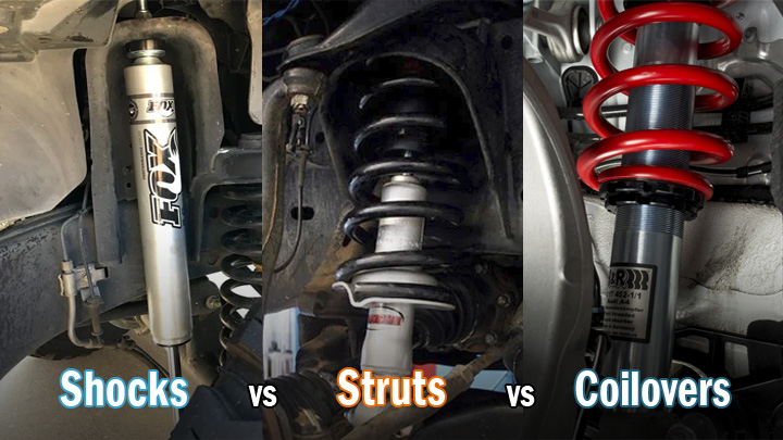 shocks vs struts vs coilovers